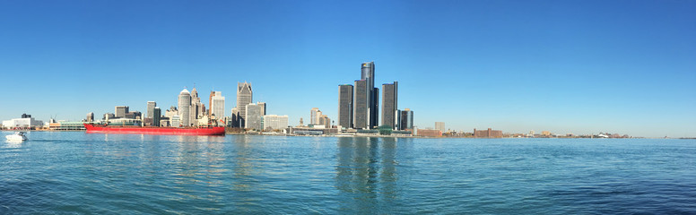 Panorama of the Detroit, Michigan Skyline with freighter in foreground