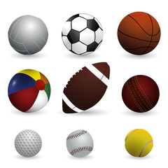 Realistic vector illustration set of sport balls on white background