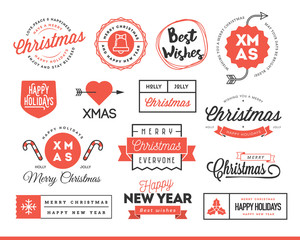 Set of beautiful Christmas themed labels, badges and logos