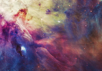 Night sky with clouds stars nebula background. Colorful fractal paint, lights on the subject of art, abstract, creativity. Planet and galaxy in a free space. Elements of this image furnished by NASA.