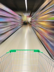 supermarket shopping cart view with supermarket aisle motion blu