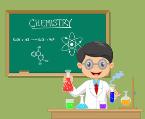 Cartoon scientist boy in lab coat with chemical glassware