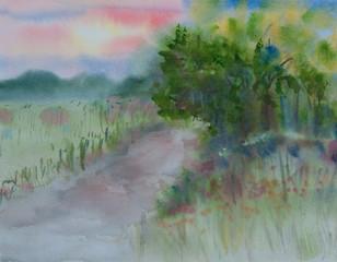 Beautiful landscape, watercolor painting