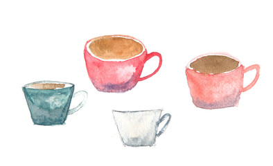 Coffee cups on white, watercolor painting