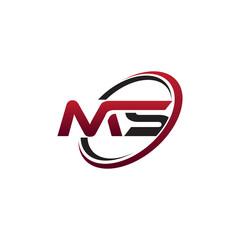 Modern Initial Logo Circle MS