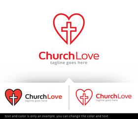 Church Love Logo Template Design Vector