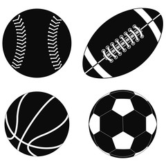 Basketball ball, Baseball ball, American football ball, Soccer ball.