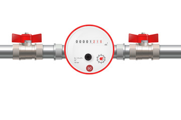 Water Meter with Water valve. Hot water counter.
