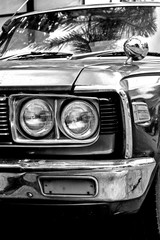 Headlight lamp vintage classic car. Black&White effect style pictures