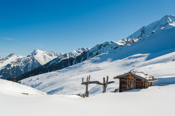 Austrian Alps in the winter, Mayrhofen ski resort - panoramic view