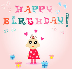 Vector illustration of cute girl with happy birthday greeting card.