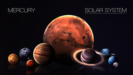 Mercury - 5K resolution Infographic presents one of the solar system planet. This image elements furnished by NASA