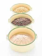 Three variety of rice: wild rice, red rice, and white rice. Shal