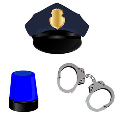 Police hat, light and handcuffs
