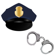 Police hat and handcuffs
