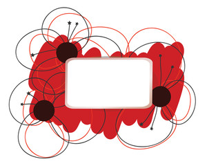 Poppy flower abstract frame - hand drawn vector design element. Paper label as frame for text. Abstract vector flower border. Red abstract strokes. Poppy flower as symbol of dream or Poppy Day.