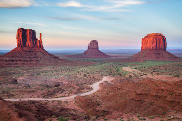 View of the Monument Valley at dusk