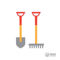 Spade and rake icon