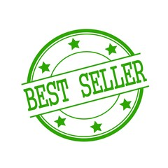 Best seller green stamp text on green circle on a white background and star