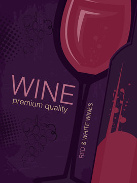 Vintage wine card. Glass and bottle of wine, halftone and grunge effect for your restaurant menu.