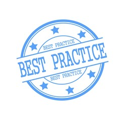 Best practice blue stamp text on blue circle on a white background and star
