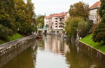 Ljubljanica river in Ljubljana, Slovenia.