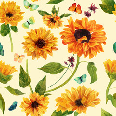 Vintage styled seamless watercolour sunflowers and butterflies pattern