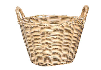 Woven Basket Isolated on White.