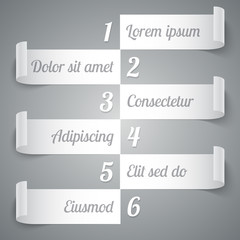 Infographics 6 options curled white paper stripe banners with realistic shadows and on grey background