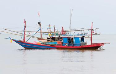 Fishing Boat in Sea in Chumphon, Thailand.