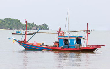Fishing Boat in Sea in Chumphon, Thailand.