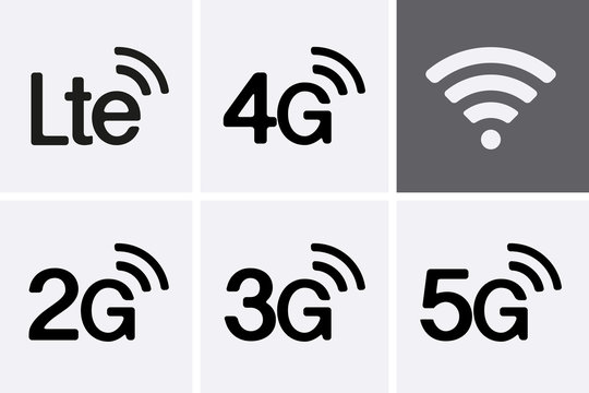 LTE, 2G, 3G, 4G and 5G technology icon symbols