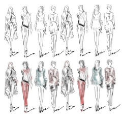 Fashion models. Sketch