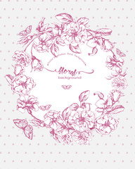 Vintage  Birthday card with  blooming rose and  butterflies. (Use for Boarding Pass, birthday card, invitations, thank you card.) Vector illustration.