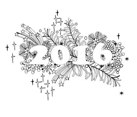 Happy New Year 2016 celebration background. Xmas doodles. Vector illustration in zentangle style.