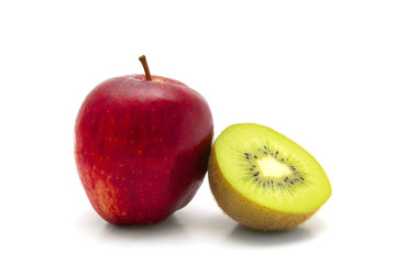 apple and kiwi fruit on white background close-up