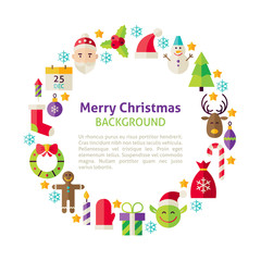 Flat Style Vector Circle Template Collection of Winter Merry Chr