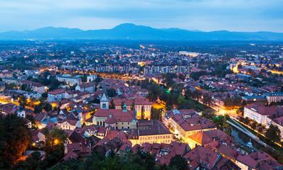 Panoramic view of Ljubljana, Slovenia.