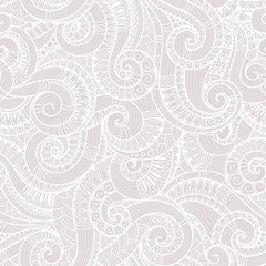 Seamless black and white abstract hand-drawn pattern, waves back