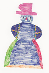 Colorful snowman with pink hat (original child picture)