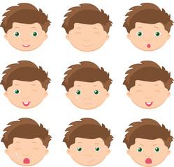 Boy emotions: joy, surprise, fear, sadness, sorrow, crying, laug