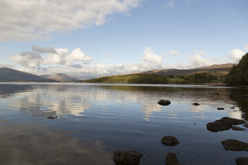 Loch Lomond in Scotland the beautiful lake with some mountains in the background