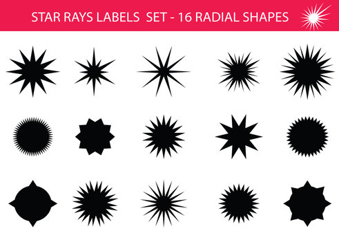 Star rays - Set of Retro Sun burst shapes. Vector stars and sparkle silhouettes classic design elements. Vintage sun ray frames, quality signs, sale icons for design project. Isolated on white.