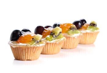 Fruit desserts on white background.