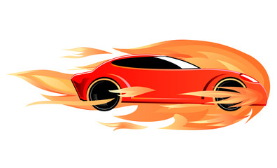 Fast sports car on fire vector image