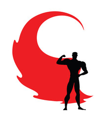 Superhero icon - vector black Superhero silhouette wearing red cloak flying on wind. Superman with strong arm posing. Strong man as fitness sign, masculinity symbol, protection emblem. Eps 10.