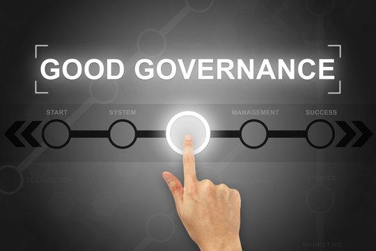 hand clicking good governance button on a screen interface