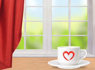 White coffee cup on wooden table and window with nature backgrou