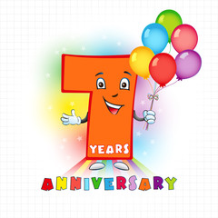 7 anniversary funny logo. The birthday card with color personified animated digit and bright baloons.