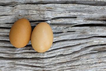 egg on vintage log .